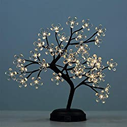Lightshare 18-inch Crystal Flower LED Bonsai Tree, Warm White, 36 LED Lights, Clear Flower, Battery Powered or DC Adapter(Included), Built-in Timer