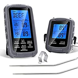 WIRELESS REMOTE MEAT THERMOMETER FOR SMOKER, BBQ GRILLING