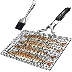 GRILLING BASKET FOR FISH VEGETABLES SHRIMP WITH REMOVABLE HANDLE