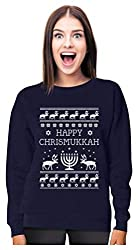 Tstars - Happy Chrismukkah Funny Ugly Christmas/Hanukkah Women Sweatshirt Medium Navy