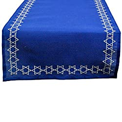 DII Embroidered Table Runner, 14X70, Star of David